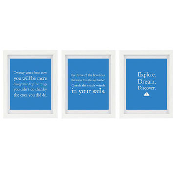 Explore, Dream, Discover, Mark Twain Quote, Set of 3 Typography Prints, Sailboat, Blue Home Decor, Inspirational Quote, 8 x 10