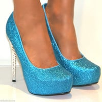 LADIES TURQUOISE GLITTER CONCEALED PLATFORM STILETTO HIGH HEELS COURT SHOES 3-8
