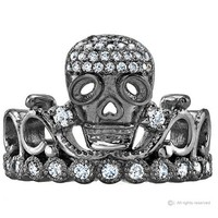 Black Rhodium-plated 14K White Gold CZ Skull Crown Ring