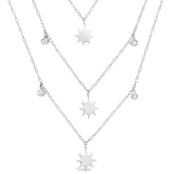 """.10 cttw Diamond 3 Chain Sterling Silver Star Layered Necklace 16"""""""