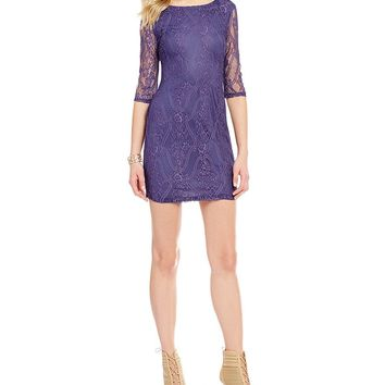 I.N. San Francisco Elbow Sleeve Lace Sheath Dress | Dillards