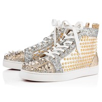 Cl Christian Louboutin Mixkeoshell Flat Silver/light Gold Leather 18s Shoes 1180213s017-1
