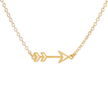 Kris Nations Arrow Necklace Gold Dipped Brass or Sterling Silver 18 in