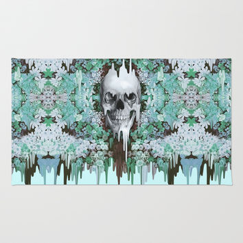 Seeing Color, melting floral skull in mint Area & Throw Rug by Kristy Patterson Design