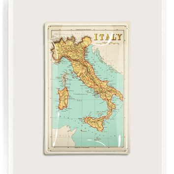 Italy Map No. 2 Decoupage Glass Tray
