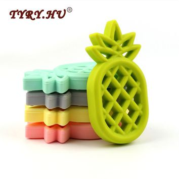 TYRY.HU Pineappl Silicone Teether BPA Free Silicone Pendant For DIY Pacifier Clips Soother Chain Baby Teething Toys Supplier