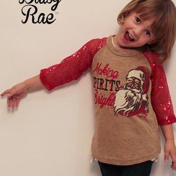 Kids Making Spirits Bright on Beige with Red Sequin Sleeves