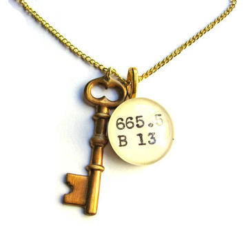 Gold Gilt Raw Brass Skeleton Key Dewey Decimal Librarian Necklace by The Written Nerd