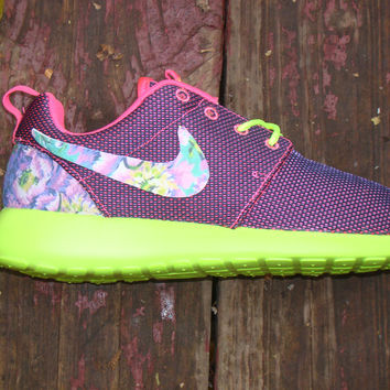 womens nike roshe run floral green purple
