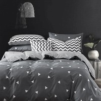 Customized 60S 100% Cotton Bedding Set King Size Nordic style Duvet Cover Set,Gray linens Russia USA Size bedclothes Bed Set