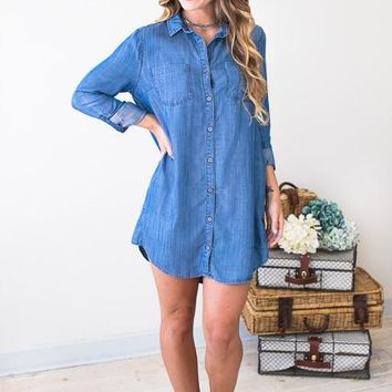 On the Barricade Chambray Dress