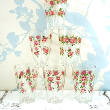 Small Glasses x 6, Hand Painted Roses, Star Shaped Base, Water Glasses, Cordial, Juice Glasses, Clear Glass, Snifter, Barware, Glassware