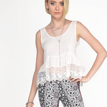 Shirring Lace Top