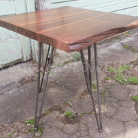Walnut Side Table- End Table- Dark Wood- Steel Legs- Industrial Table- Bed Stand- Night Stand- Live Edge Table- Side Table- Handmade