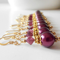 Beaded Earrings Bridesmaid Jewelry Garnet Pearl Dangles Antiqued Gold Plum Wedding Jewelry Bridesmaids Earrings