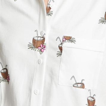 Coconut Print Pocket Shirt