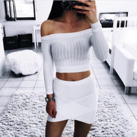 Fashion All-match Tight Stripe Off Shoulder T-shirt Tops