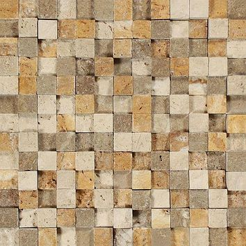 1 X 1 Mixed Travertine HI-LOW Split-Faced Mosaic Tile