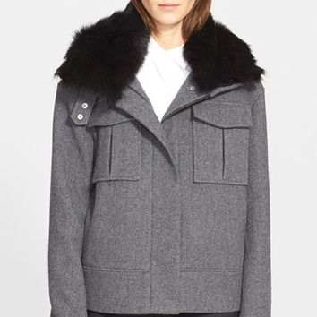 Women's Theory 'Glomarie' Coat with Removable Genuine Shearling Collar,