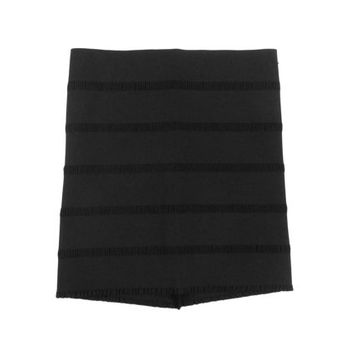 Black Bandage Skirt - Bodycon Mini High Waist Minimal 90's Shirred Women's Size Extra Small Small Medium XS Sm Med S M One Size