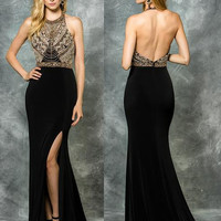Colors 1700 Gold Beaded with Leg Slit Prom Evening Dress
