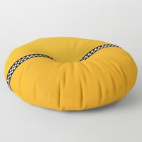 NY Taxi Cab Yellow with Black and white check stripe Floor Pillow by podartist