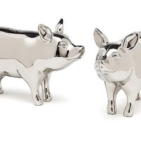 Silver-Plated Pig Salt & Pepper ShakersGODINGER