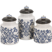 Vera Hand-Painted Canisters - Set of 3