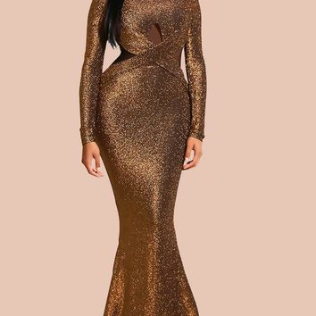 New Golden Cross Bright Wire Draped Backless Bodycon Mermaid Long Sleeve Elegant Formal Maxi Dress