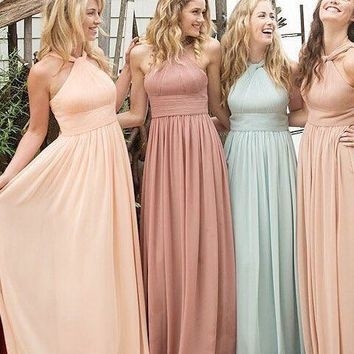 Bridesmaid Dresses Under 50 2017 Halter Simple Chiffon Wedding Party Dresses Plus Size Ankle Length Maid of Honor 12171653