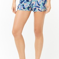 Feather Print Pajama Shorts