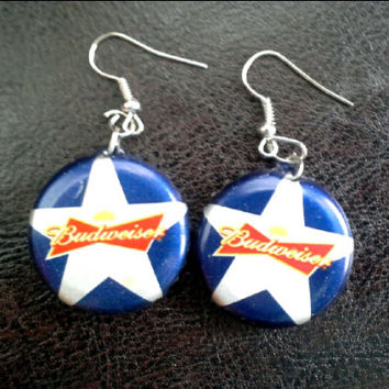 Bottle Cap Earrings Budweiser Star 4th of July Handmade Rockabilly-Girl