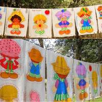 """1981 Original Strawberry Shortcake Characters Pillow Panel for 21"""" Doll - 3 Available- Retro Kids Decor Sewing Fabric Panels Craft Supply"""