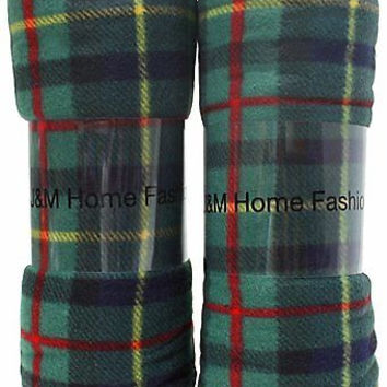 Home Fashions Holiday Plaid Fleece Blanket, 50 by 60-Inch, Green, 2-Pack