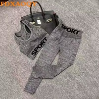 FDXAOQY 2018 NEW Women Running Suit Sports Bra Yoga Pants Outdoor Clothing Fitness Set Gym Athletic Vest Exercise Elastic Slim