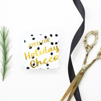Cute Christmas Cards Small Enclosure Cards Holiday Gift Tags for Girls Faux Gold Foil Gift Cards Girly Black and White Polka Dot Gift Tags