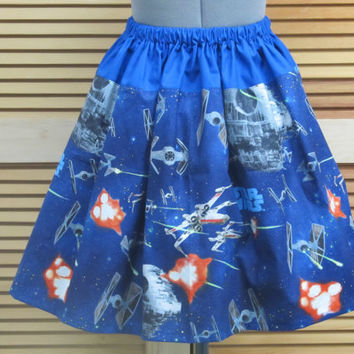 Womens Star Wars Galaxy Skirt -Full Gathered Skirt -Full of Twirl Flounce -Ready to ship