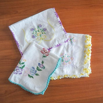 Hand Embroidered Dresser Scarf Trio | Yellow, Turquoise, Purple Floral Table Runners, Doilies, | Cottage Chic Vintage Linens