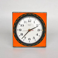 Funky Vintage Ceramic Wall Clock by Peter, 60s Germany / German Pottery / Orange & Green