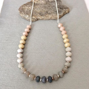 Wife Christmas Gift Her For Mom Ombre Necklace Ombre Bead Necklace Ombre Statement Necklace Neutral Necklace Multi Color Glass Bead Necklace
