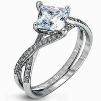 "Simon G. Princess Cut ""Twist"" Split Shank Diamond Engagement Ring"
