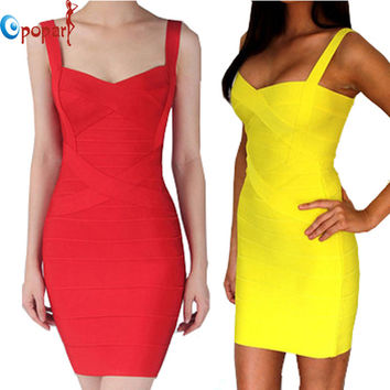 Women Candy Color Spaghetti Strap Bandage Dress Bodycon Mini Sexy Club Dress 2016 Rayon Sheath Party Dresses Drop Ship HL8675