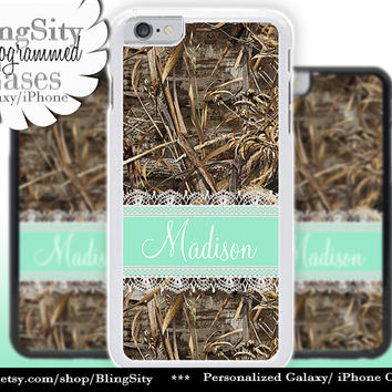 Camo Mint Monogram iPhone 5C 6 Case Plus Lace iPhone 5s 4 case Ipod Realtree Custom Name Personalized Country Inspired Girl