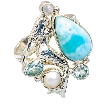 Larimar, Blue Topaz & Pearl Sterling Silver Mermaid Ring