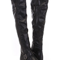 Black Faux Leather Zippered Knee High Boots