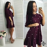 Autumn  Style Women Casual Half Sleeve O-neck Beading Ruffle Shift Dress  Fall Mini Straight Dresses Plus Size XL XXL