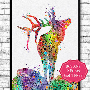 Deer Watercolor Print Deer Painting Wall Hanging Deer Poster Home Decor Giclee Wall Art Animal Wall Decor Children's Room Nursery Gift