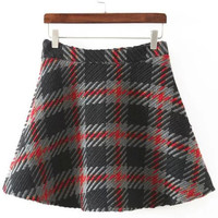 Gray Plaid Flare Skirt