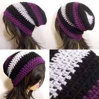 Slouchy Beanie Crochet Hat in Black Purple and Silver Gray