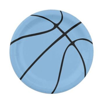 Carolina Blue Basketball Paper Plates